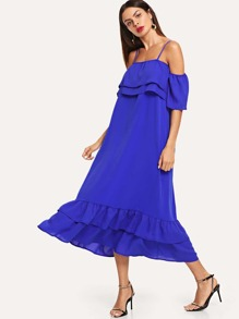 Open Shoulder Tiered Dress