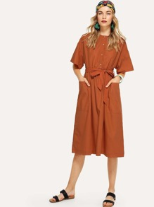 Self Tie Dual Pocket Front Dress