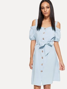 Open Shoulder Self Tie Waist Dress