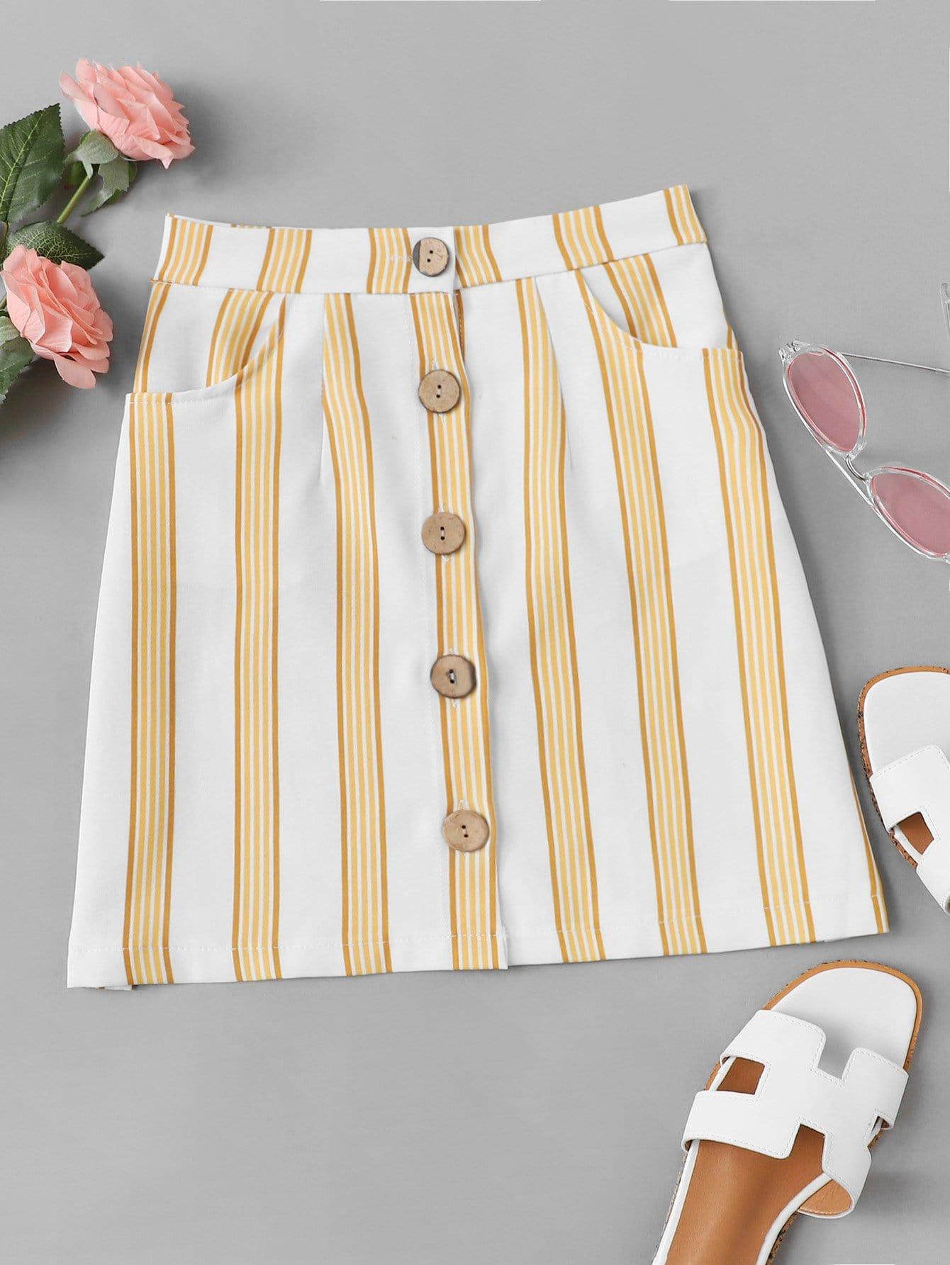 Striped Button Through Skirt
