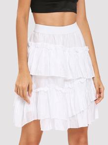 Ruffle Trim Tiered Skirt