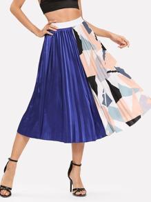 Contrast Panel Geo Print Pleated Skirt