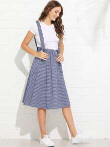 Dual Pocket Side Striped Pinafore Skirt