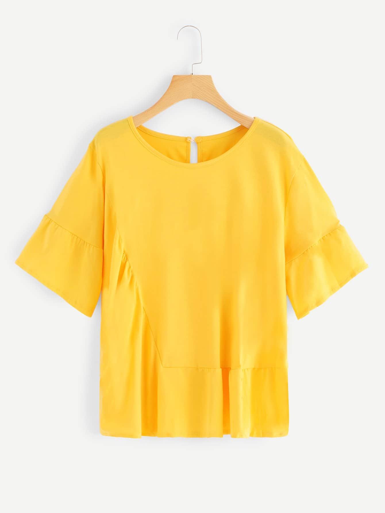 Купить Повседневные Одноцветный Полый Жёлтые Топыразмераплюс, null, SheIn