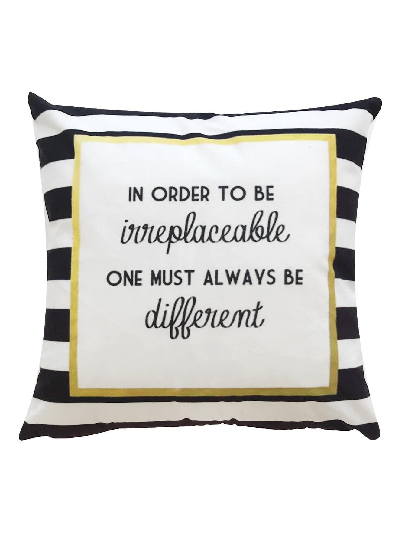 Striped Detail Slogan Print Pillowcase Cover 1pc
