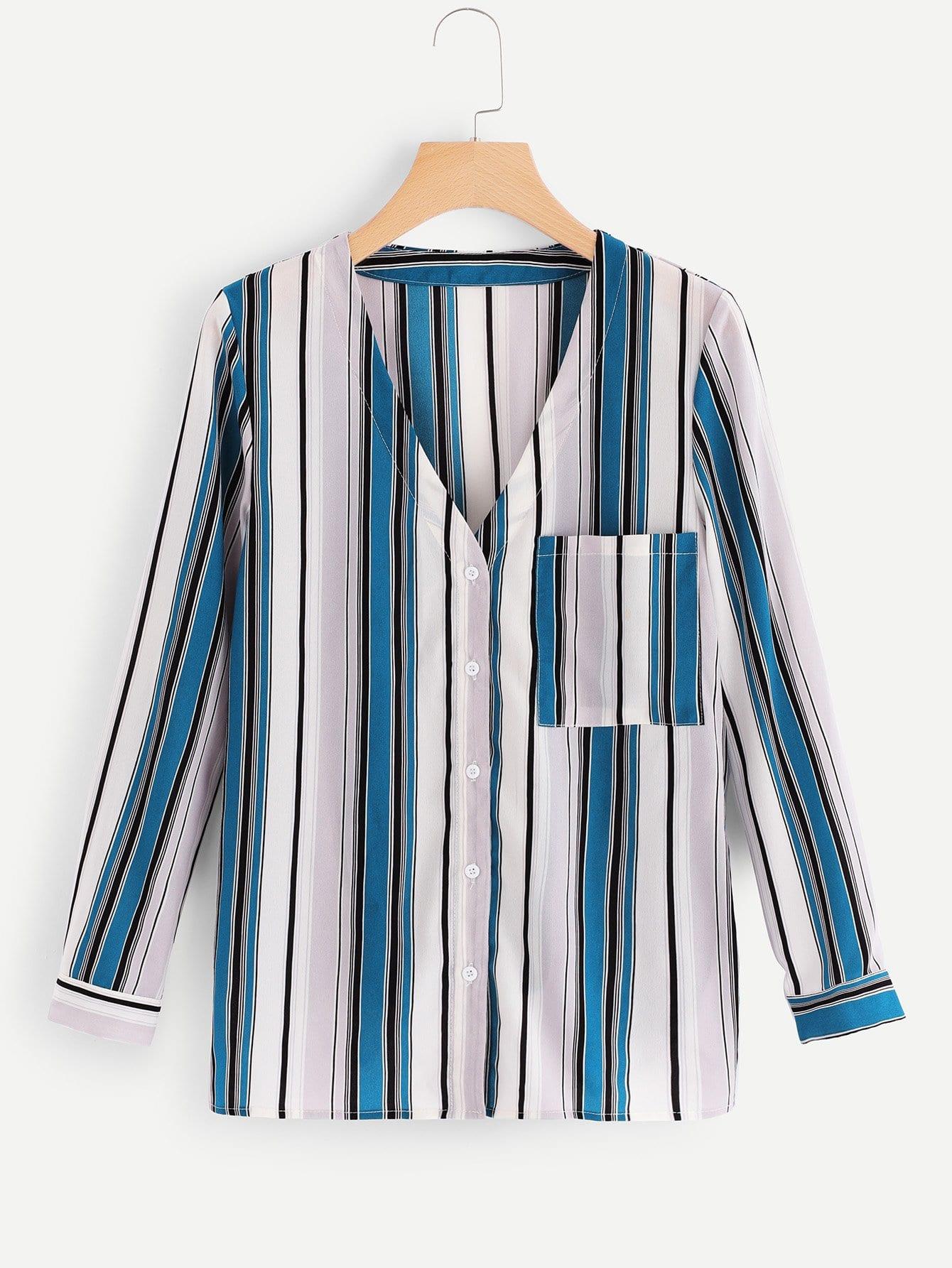 Pocket Patched V-Neck Striped Shirt pocket patched striped shell shirt