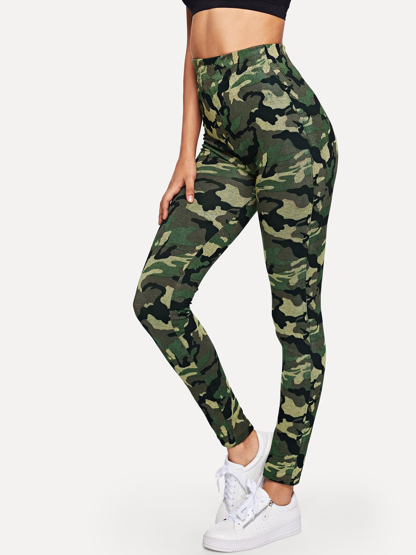 Wide Waist Camo Print Leggings wide waist camo print leggings