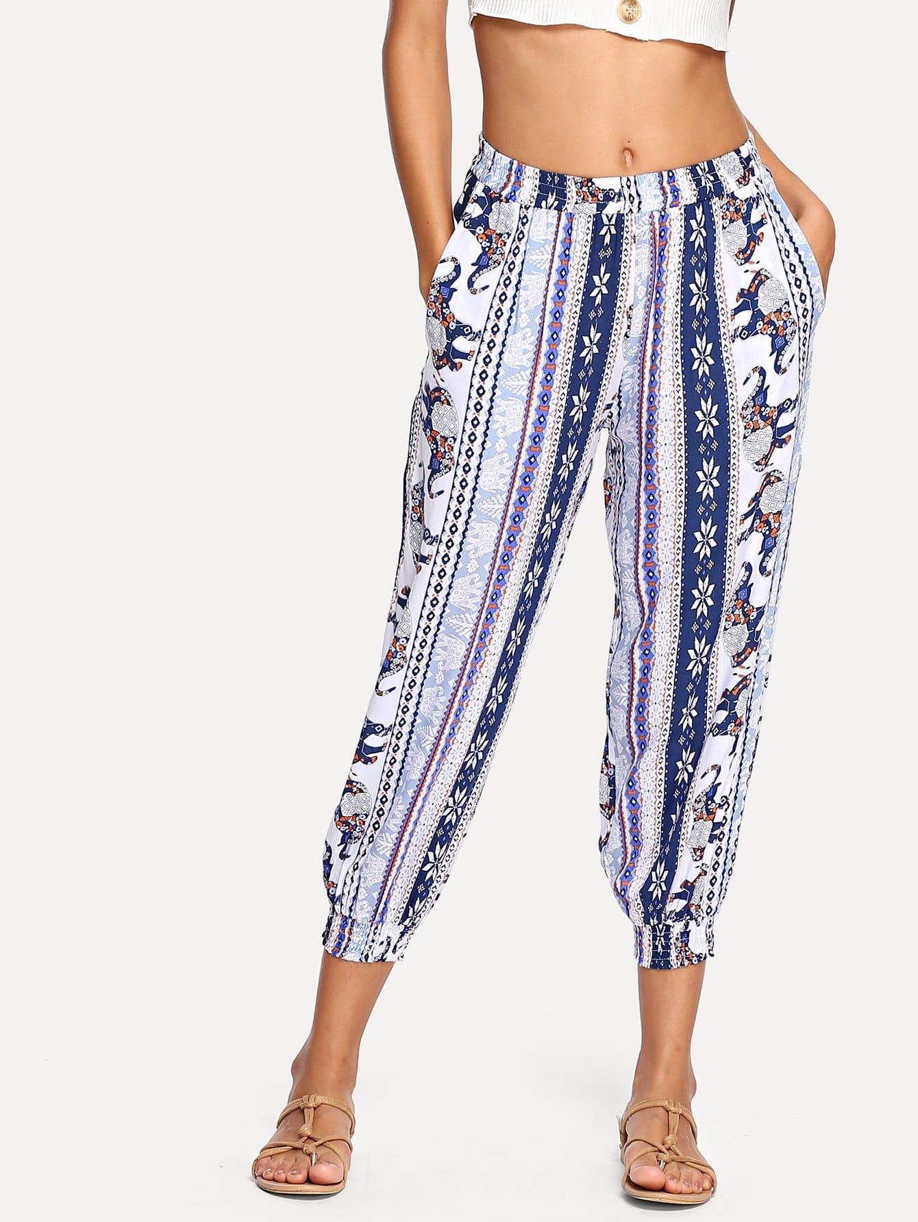 Купить Вышивка Слон Печатные племенные брюки, Mary P., SheIn