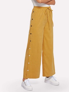 Waist Drawstring Studded Pants