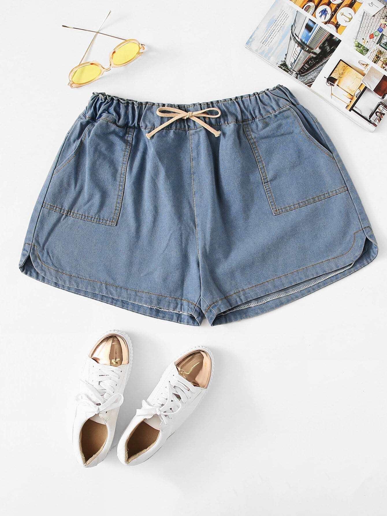Plus Drawstring Waist Denim Shorts drawstring waist frayed denim shorts