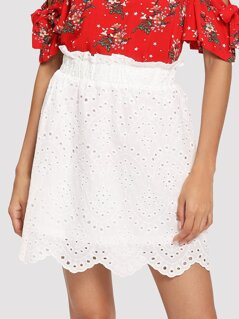 Frill Trim Eyelet Embroidered Skirt
