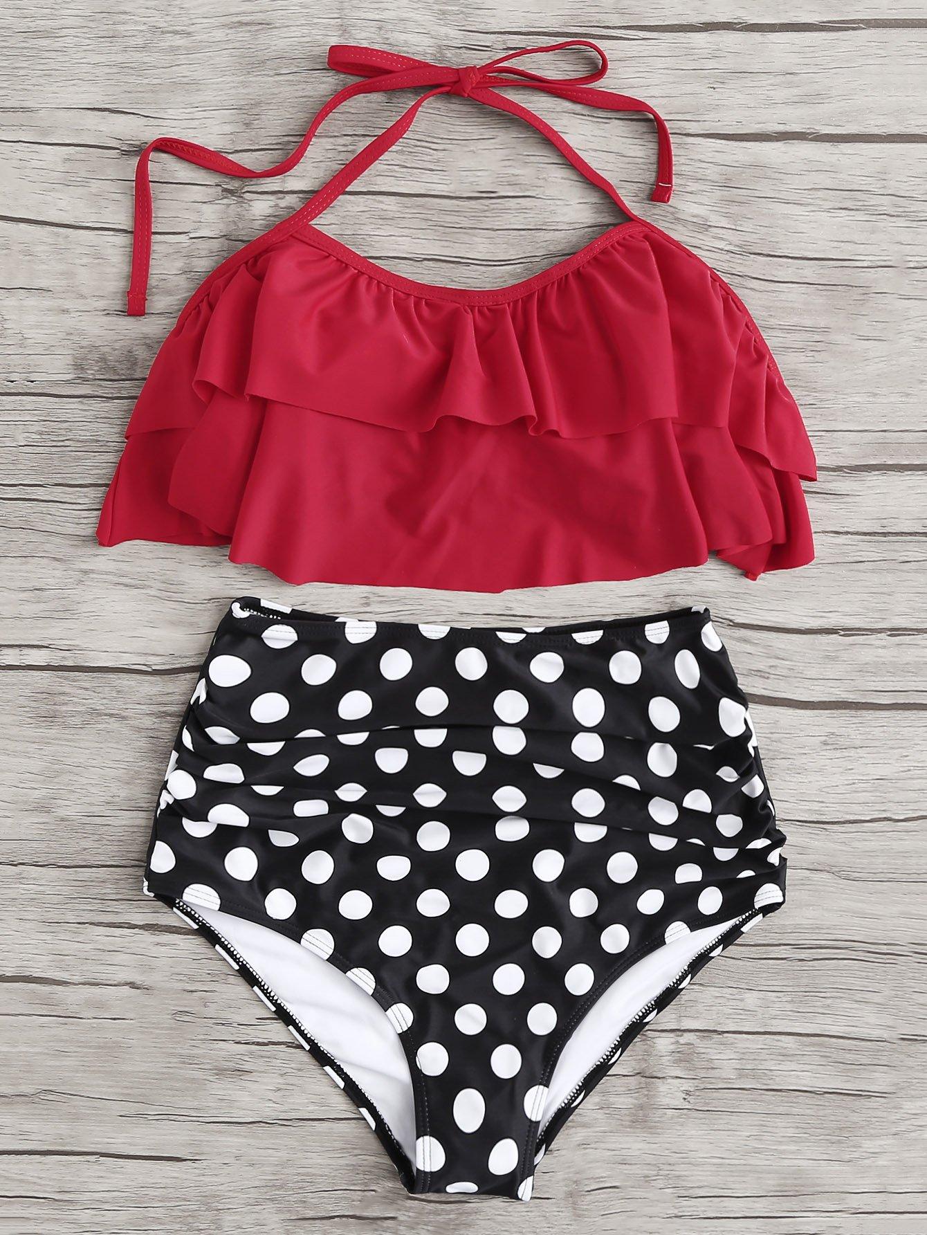 Plus Layered Flounce Trim Halter Bikini Set