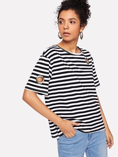 Applique Detail Striped Tee