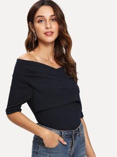 Cross Wrap Front Rib Knit T-shirt