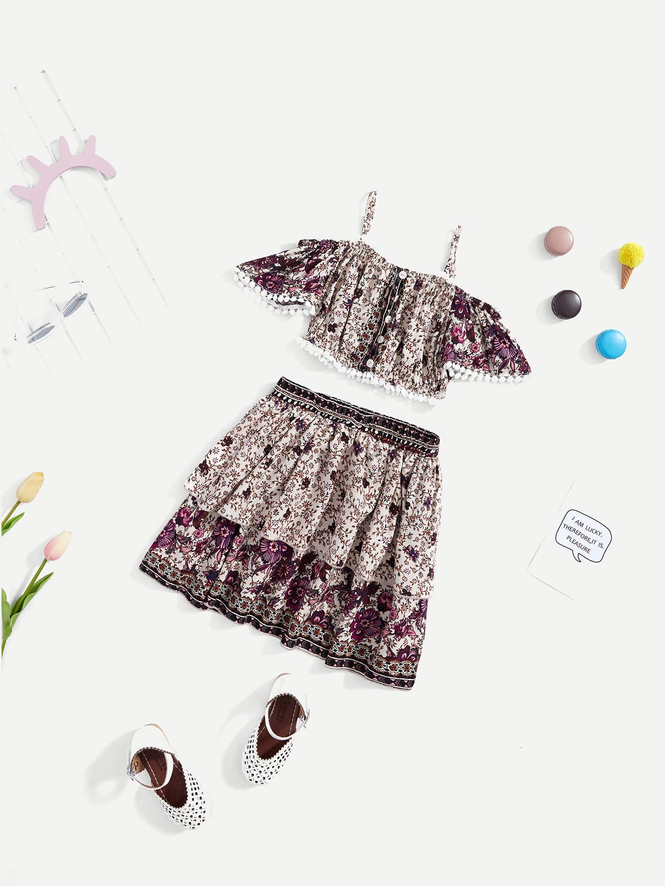 Купить Button Front Floral Cami Top & Skirt Co-Ord, null, SheIn