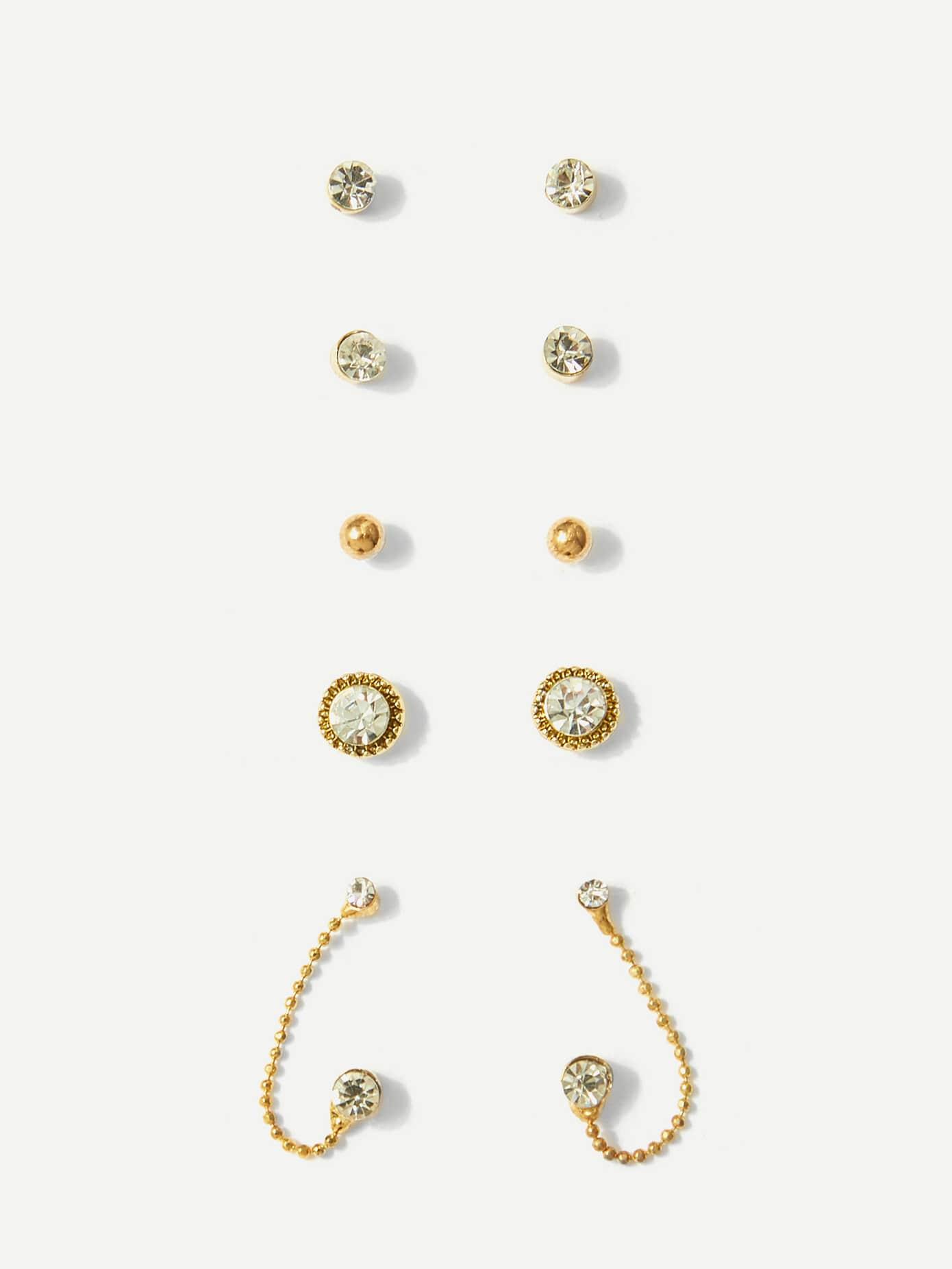 Купить Серьги для ключей Rhinestone с бриллиантами 5pairs, null, SheIn