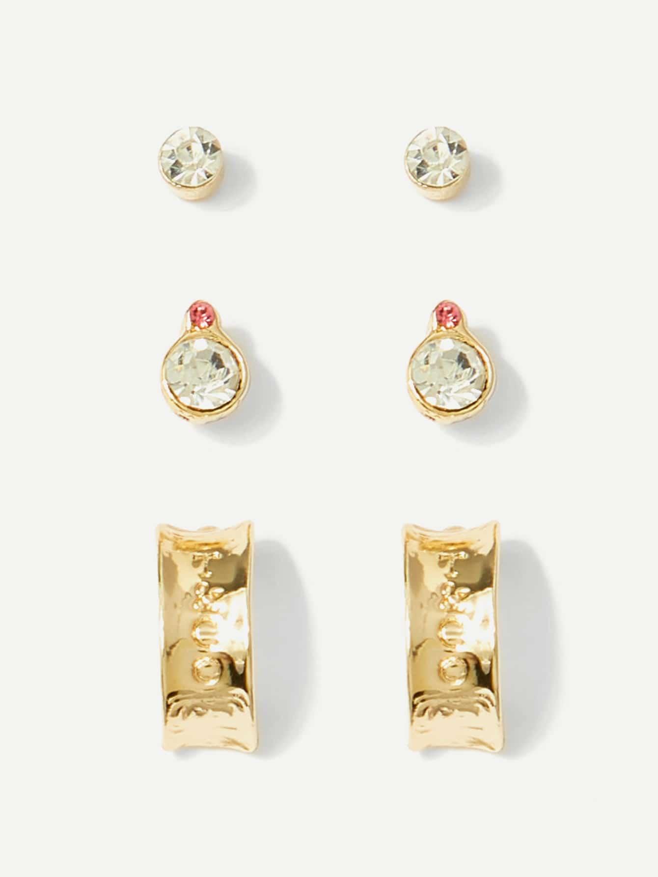 все цены на Half Hoop Rhinestone Stud Earrings 3pairs