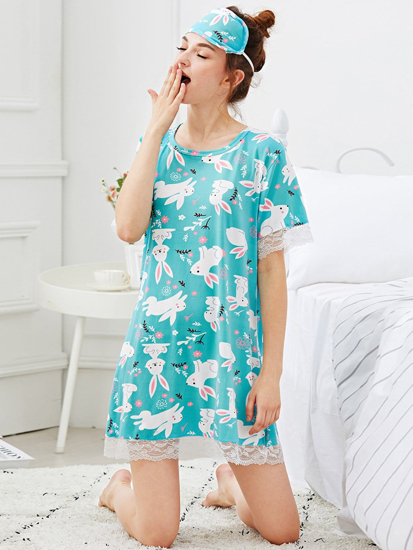 Rabbit Print Lace Trim Night Dress With Eye Mask rabbit print pullover