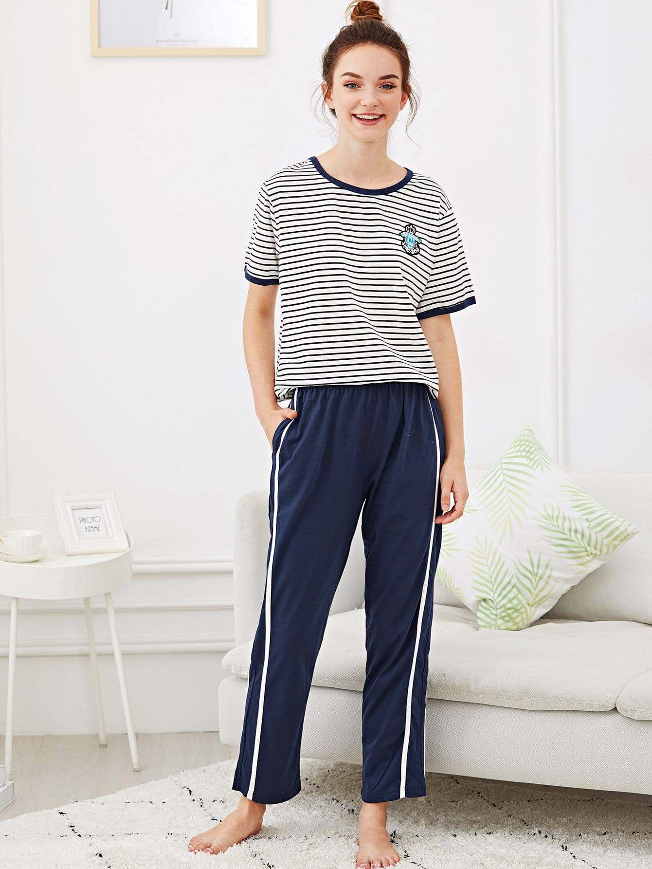 Contrast Binding Striped Pajama Set шпулька sturm gt3513p 24
