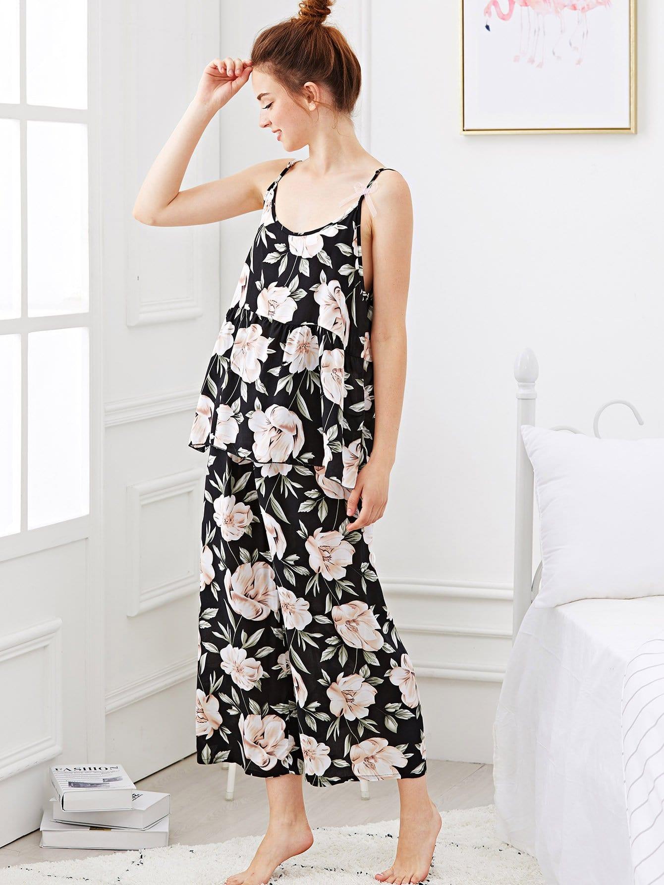Купить Цветочная печать Cami Pajama Set, Tory, SheIn