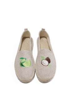 Embroidery Detail Espadrille Flats
