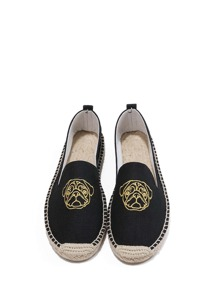 Dog Embroidery Espadrille Flats