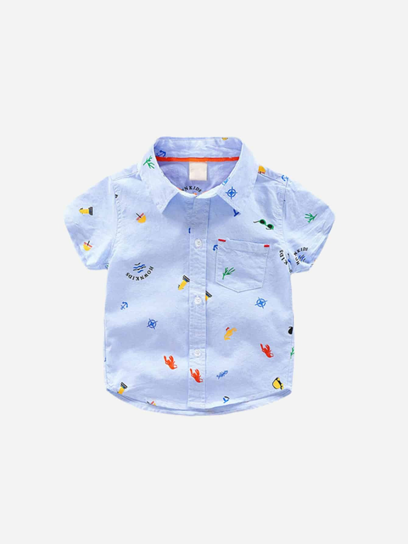 Boys Animal And Letter Print Blouse