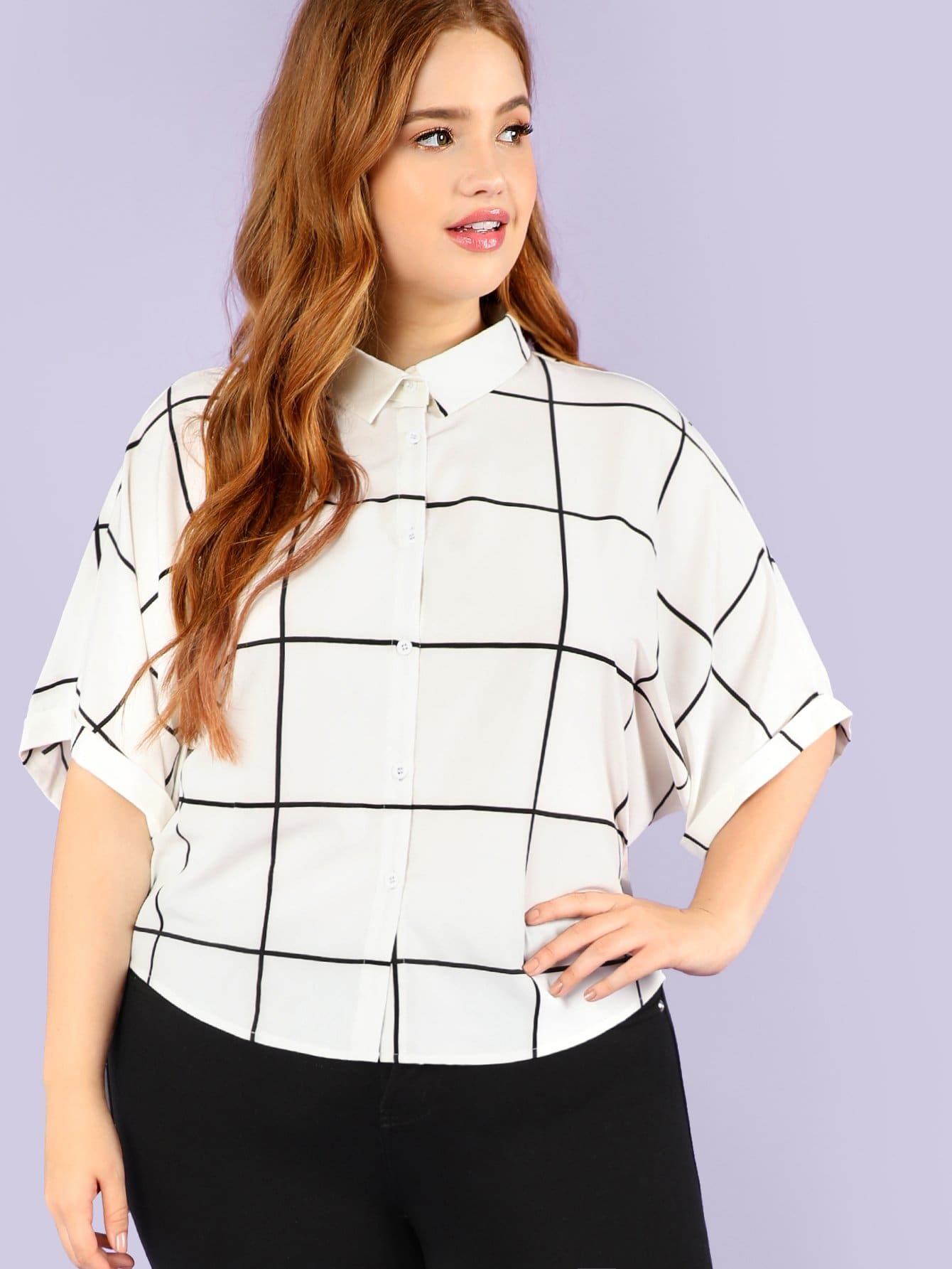 Купить Рубашка с рукавами из манжеты, Bree Kish, SheIn