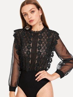 Sheer Mesh Sleeve Guipure Lace Bodice Bodysuit