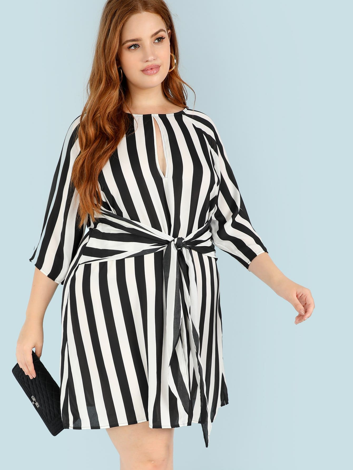 Plus Keyhole Front Knot Striped Dress keyhole front mix media fitted dress