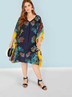 Plus V Neck Floral Poncho Dress