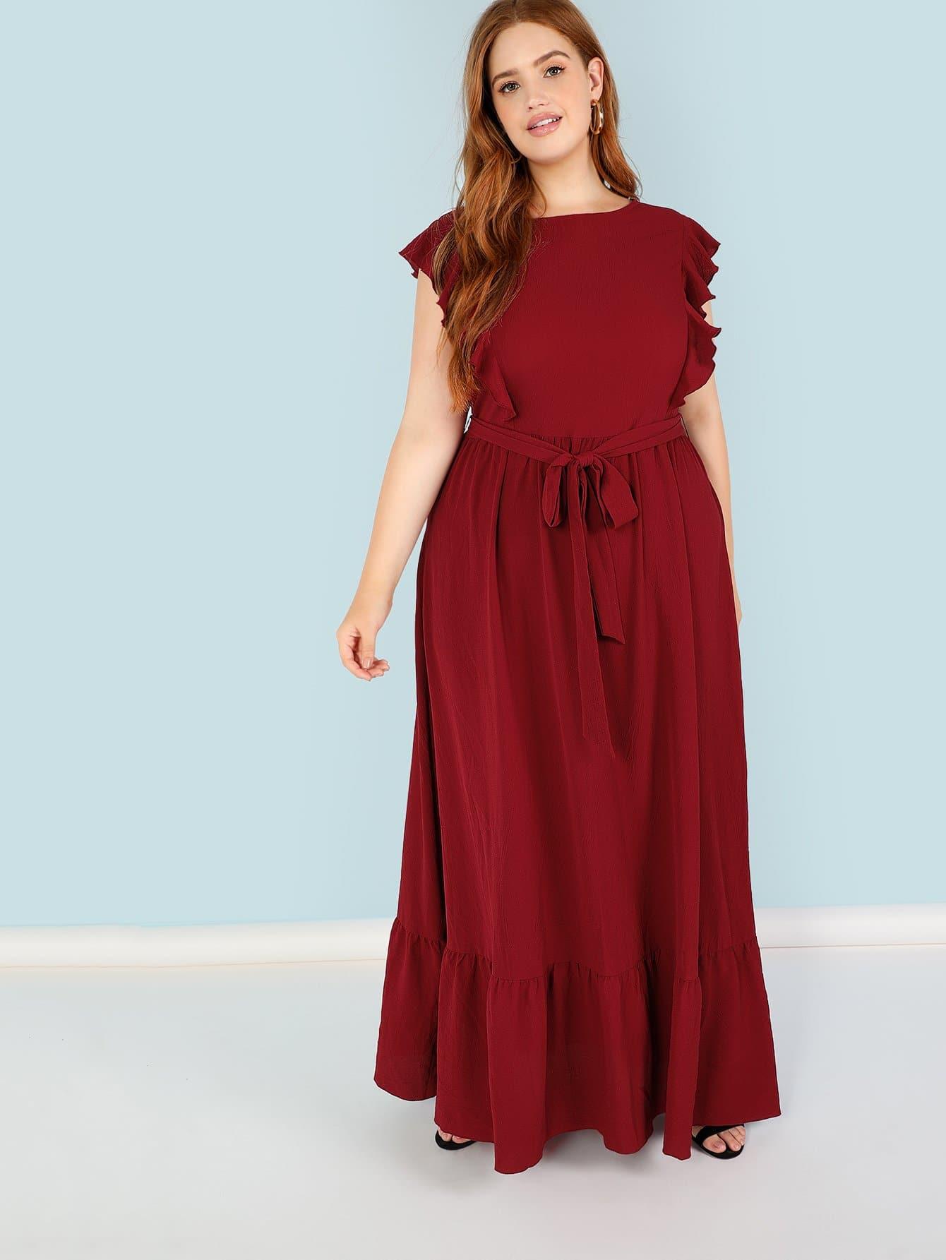 Plus Self Belted Ruffle Trim Dress self belted solid ruffle trim dress