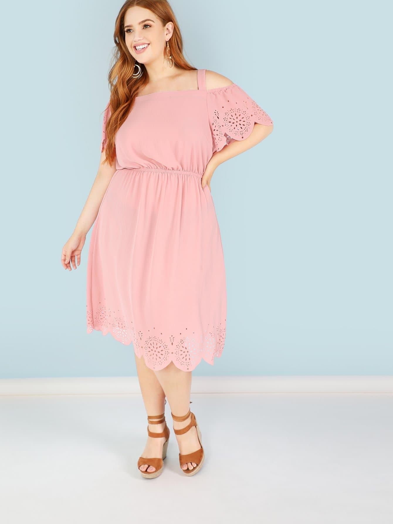 Купить Открытое плечо Лазерное резаное зубчатое гранильное платье, Bree Kish, SheIn