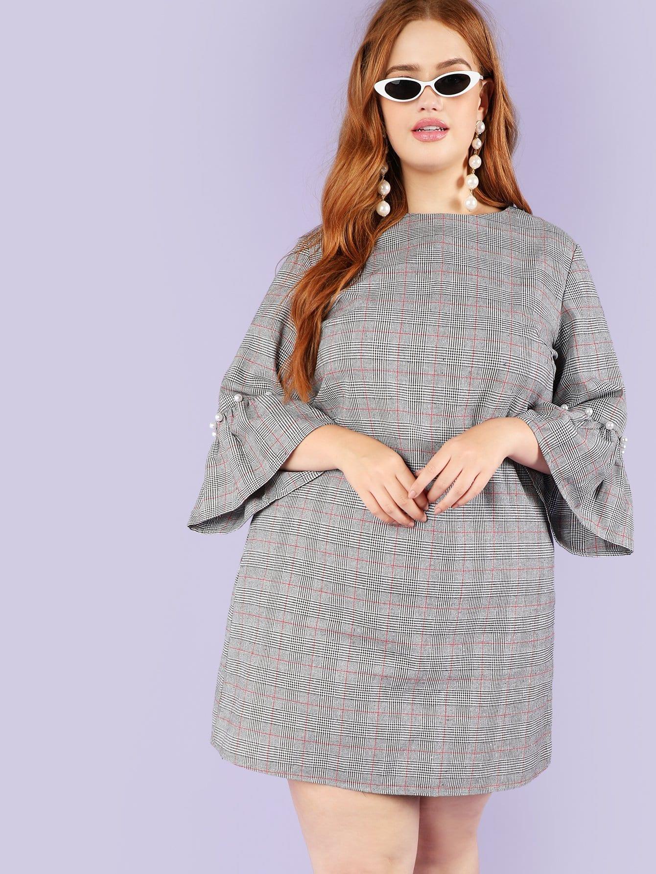 Купить Платье из манжеты из перламутрового бисера, Bree Kish, SheIn
