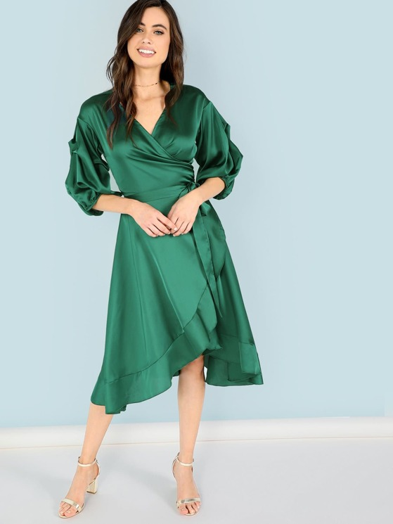 8733296fc9 Belted Wrap Bishop Sleeve Ruffle Dress