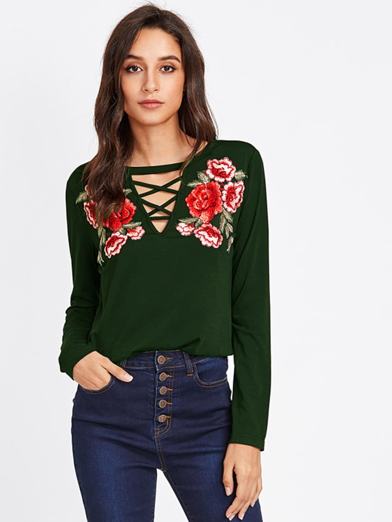 Embroidery Patch Crisscross V Neck Top ботинки grand style grand style gr025awcfbu5
