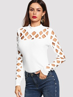Geo Cutout Shoulder Fitted Tee
