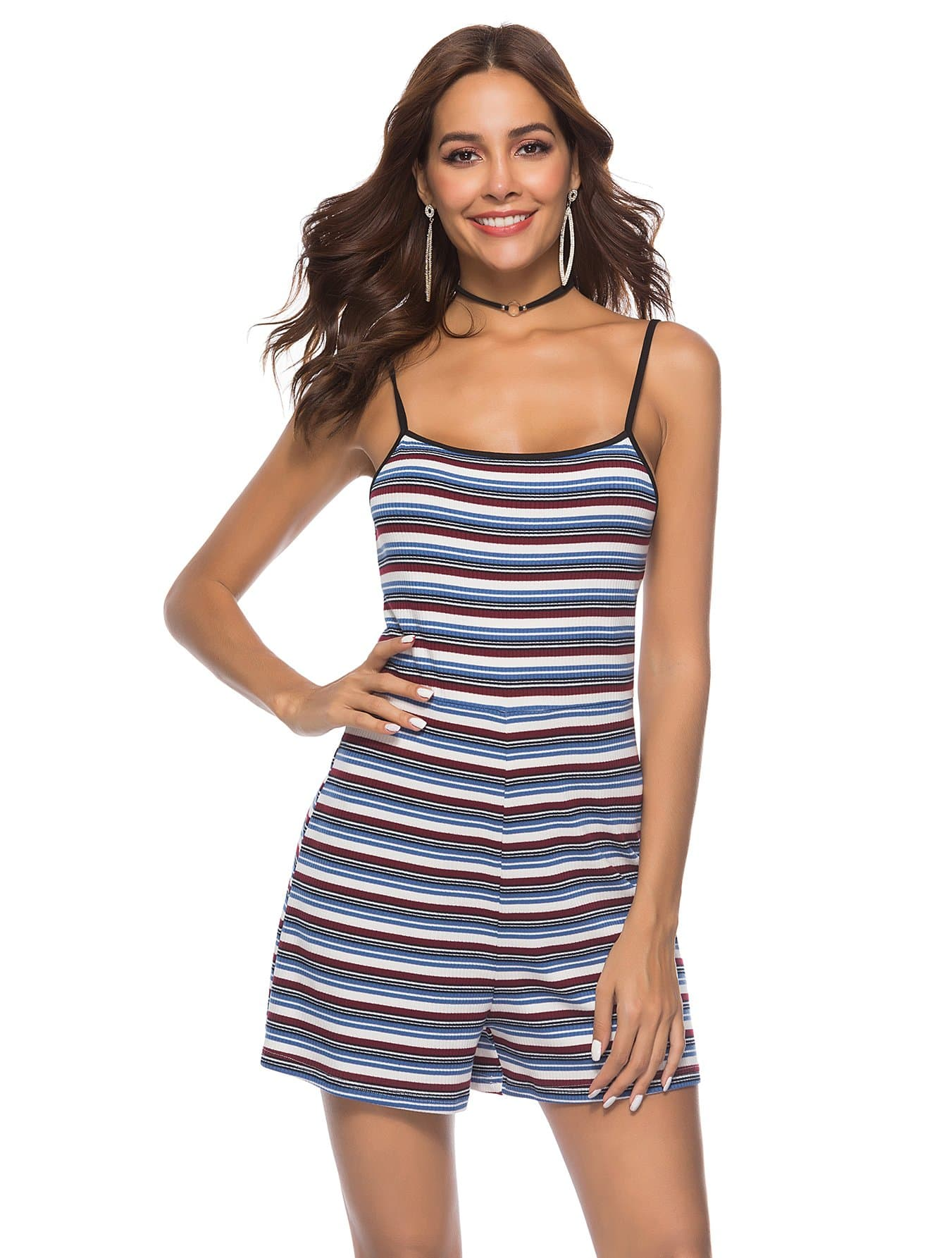 Contrast Striped Ribbed Cami Romper