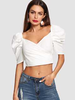 Knot Back Puff Sleeve Crop Top