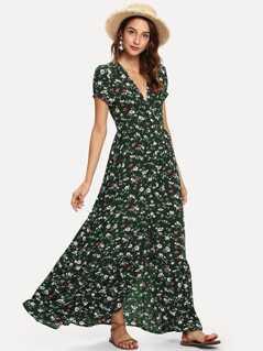 Floral Print V Neck Slit Hem Longline Dress