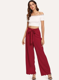 Scallop Hem Tie Waist Wide Leg Pants