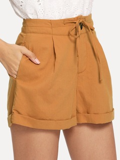 Button Fly Tie Waist Rolled Hem Shorts