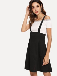 Zip Back Flare Pinafore Skirt