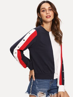 Button Sleeve Color Block Sweatshirt