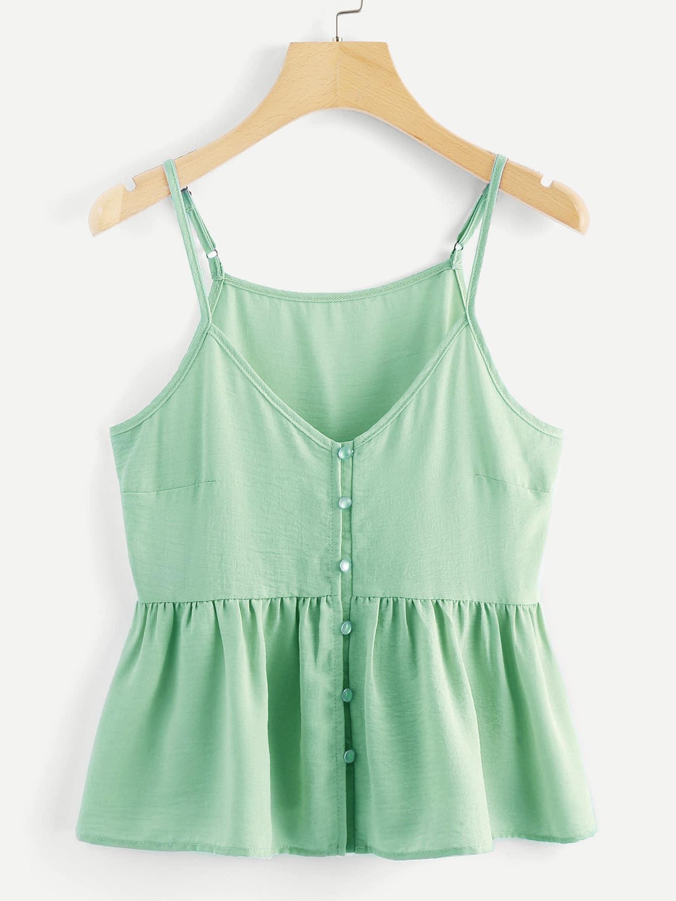 Купить Свободные С простым принтом на пуговицах зелёный Топы и майки, null, SheIn