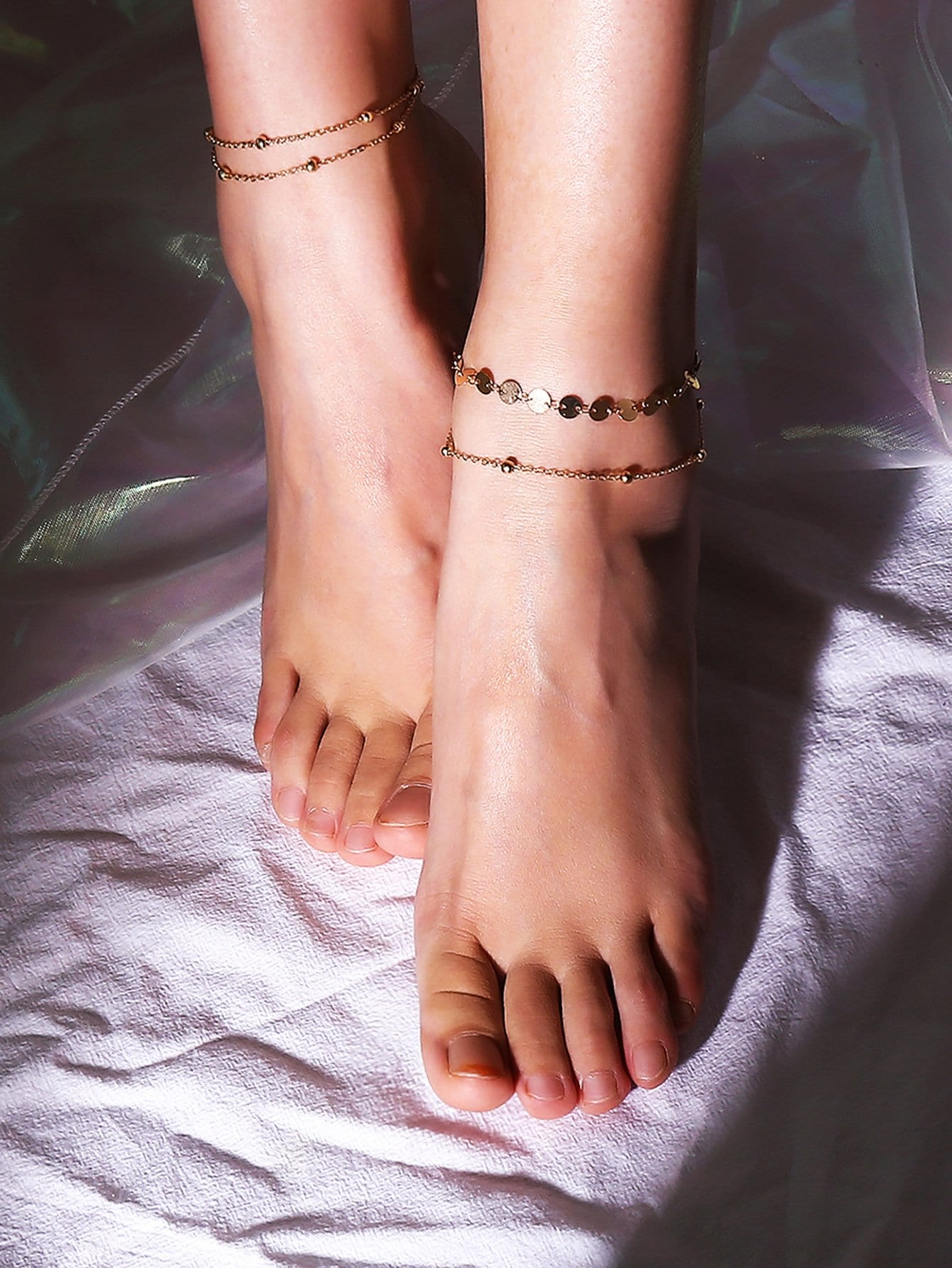 Disc & Metal Ball Layered Chain Anklet 2pcs