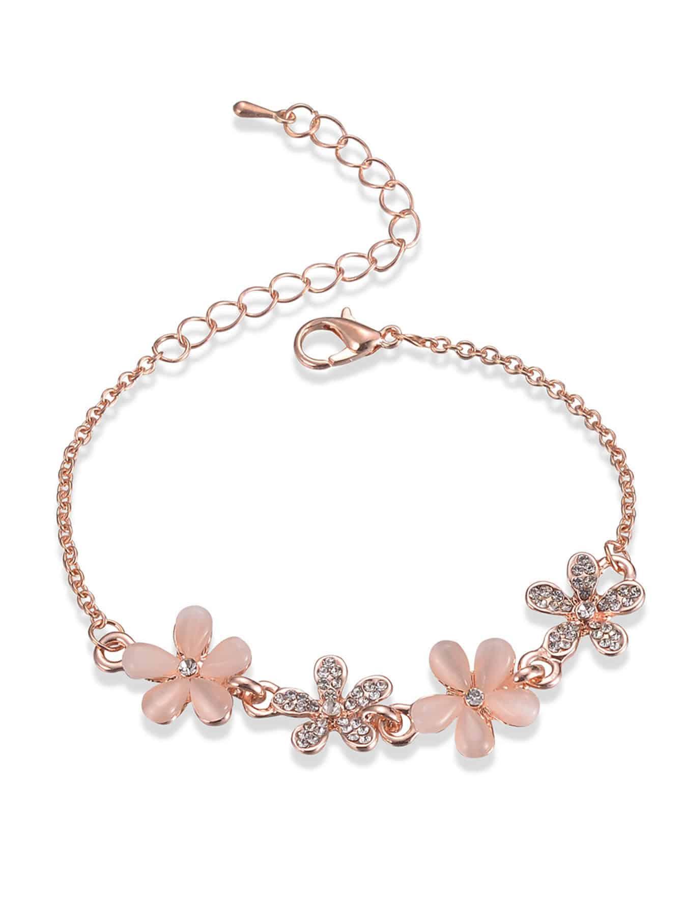 Kette Armband mit Strass Blumen