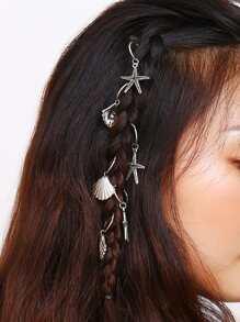 Starfish & Shell Hair Ring 6pcs