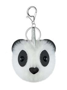 Panda Design Pom Pom Keychain