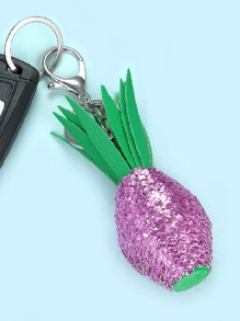 Sequin Detail Pineapple Keychain
